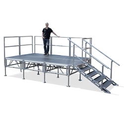 TotalPackage™ 8x12 Outdoor Portable Stage Kit, Industrial Finish 8x12, 12x8, folding stage, cart, storage, portable stage kit, adjustable height, total package
