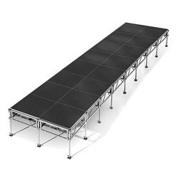 "All-Terrain 8x32 Outdoor Stage System, 24""-48"" High 8x32, 32x8, 8 x 32, outdoor stage, weatherproof stage, waterproof stage"