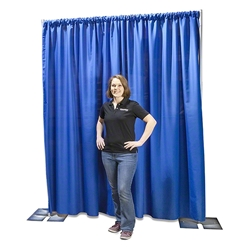 Ameristage FlexDrape 6-10 Adjustable Backdrop/Curtain Wall Kit pipe and drape, pipes and drapes, curtain wall, background, backdrop, back drop, stanchions, crowd barrier, drape wall