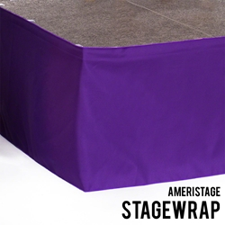 "Ameristage StageWrap Stage Skirt, 14x17"" Purple (Overstock) portable stage skirting, velcro, hook and loop, 14x17, 14 x 17, 17 inch stage skirt, clearance, sale, purple, overstock"