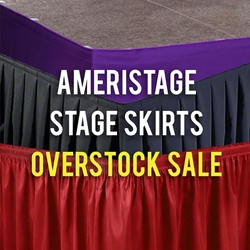 AmeriStage Overstock Stage Skirts (Select Sizes & Colors) portable stage skirting, velcro, hook and loop, 8x32, 32x8, 32 inch stage skirt, clearance, sale