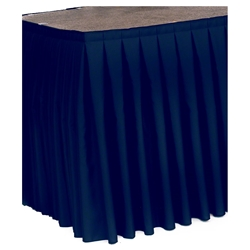 "Ameristage Box-Pleat Stage Skirt, 8x36"" Navy (Overstock)  portable stage skirting, velcro, hook and loop, 8x36, 8 x 36, 36 inch stage skirt, clearance, sale, white, overstock"