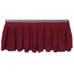 "Ameristage Box-Pleat Stage Skirt, 258"" x 69"" Burgundy (Overstock) portable stage skirting, velcro, hook and loop, 25.8 x 69, 69 x 25.8, 69 inch stage skirt, clearance, sale, burgundy, overstock"