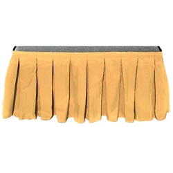 "Ameristage Box-Pleat Stage Skirt, 6x16"" Gold (Overstock)  portable stage skirting, velcro, hook and loop, 6x16, 6 x 16, 16 inch stage skirt, clearance, sale, gold, overstock"