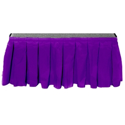 "Ameristage Box-Pleat Stage Skirt, 8x24"" Purple (Overstock) portable stage skirting, velcro, hook and loop, 8x24, 8 x 24, 24 inch stage skirt, clearance, sale, purple, overstock"