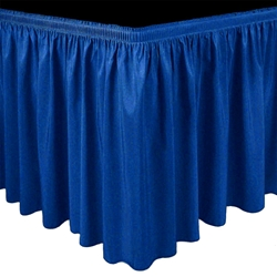 Ameristage Shirred Polyester Stage Skirt - Custom Size stage skirting, custom stage skirt, platform skirt, platform skirting, shirred stage skirt, drape, shir, 3x3, 4x4, 4x8, 3x8