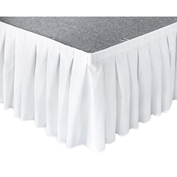"Ameristage Box-Pleat Stage Skirt, 8x25"" White (Overstock) portable stage skirting, velcro, hook and loop, 8x25, 8 x 25, 25 inch stage skirt, clearance, sale, white, overstock"