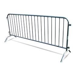 Biljax 8 Crowd Control Barrier with Bridge Feet crowd control fence with feet, crowd control barrier, concert barrier, security barrier, concert fence, stage fence, stage barrier