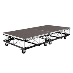 IntelliStage Lightweight 4x8 Mobile Camera Platform on Casters, Carpeted 4x8 portable stage, rolling stage riser, platform, 64 square feet, wheeled, wheels, staging, camera, camera platform, mobile camera stage, 4 x 8
