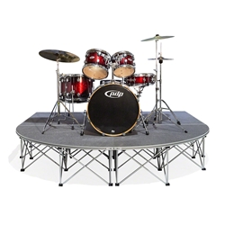 IntelliStage Lightweight 8x8 Rounded Front Drum Riser 8x8, 8 x 8, 64 square feet, small stage, modular stage panel, drum platform, round