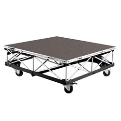 IntelliStage Lightweight 4x4 Mobile Camera Platform on Casters, Carpeted 4x4 portable stage, rolling stage riser, platform, 16 square feet, wheeled, wheels, staging, camera, camera platform, mobile camera stage, 4 x 8