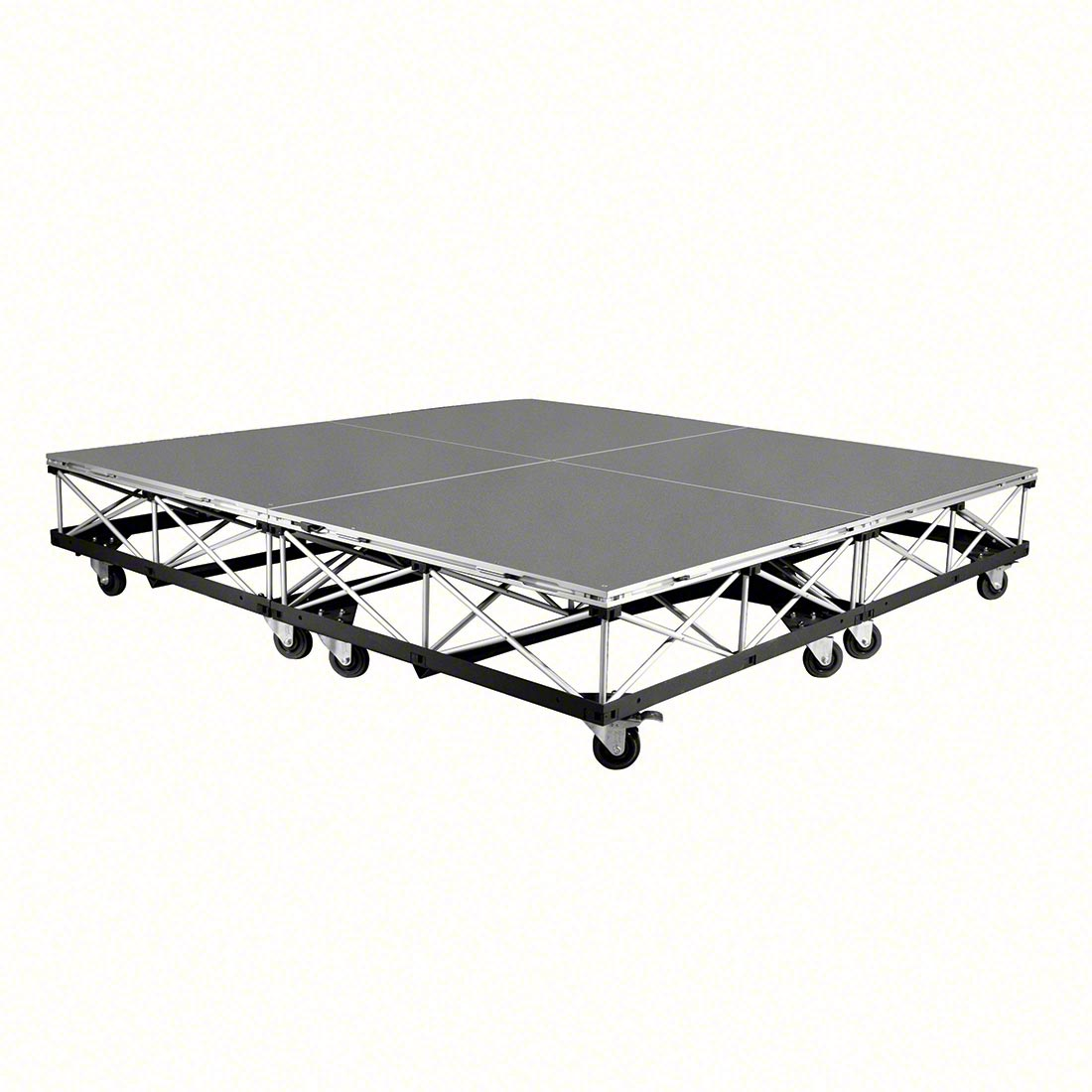 intellistage 8 x8 mobile drum riser on casters carpeted ismdrum64