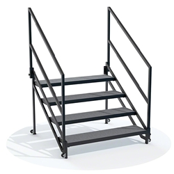 "ProFlex 4-Step Fixed Stairs for 40"" High Stage PFSTAIR4, stairs, stairs with handrail, stairs with wheels, 40 in, universal"