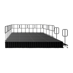 IntelliStage 12x16 Deluxe Stage System with Guardrails, Steps & Skirts 12x16, 16x12, staging, guard rails, guardrails, stairs, steps, skirting, skirts