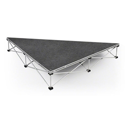 IntelliStage Lightweight 4 90-Degree Right Triangle Portable Stage Unit isosceles triangle platform, triangular, angled, stage unit, portable staging, portable stage, stage kit, 90-degree, right triangle stage