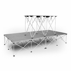 "IntelliStage Lightweight 4x8 DJ Platform Package (With 30"" High Folding Table) portable staging, 4x8, 4 x 8, 8 x 4, 8x4, lightweight, stage, modular, 4x4, dj stage, dj platform, package, dj package, folding dj table"