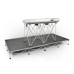 "IntelliStage Lightweight 4x8 Carpeted Keyboard Platform Package (With 30"" High Folding Table) portable staging, 4x8, 4 x 8, 8 x 4, 8x4, lightweight, stage, modular, 4x4, dj stage, dj platform, package, dj package, folding dj table, keyboard, keyboard stage, keyboard platform"