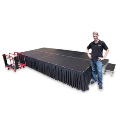 TotalPackage™ Lightweight Portable Stage Kit, 8'x16'  SD8168C, SD8168T, SD81616C,SD81616T, SD81624C,SD81624T, folding stage, cart, storage, total package, stagedrop portable stage package