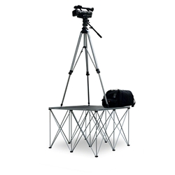 Intellistage Lightweight 3'x3' Camera Platform with Riser portable staging, lightweight, stage unit, 3x3, 3 x 3, modular stage, camera riser, camera platform, spider pod, spiderpod, tripod system