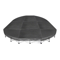 IntelliStage Lightweight 12 Rounded Corner Portable Stage System, (4 Units) 12 foot round, round stage, 12x8, 12x16, 12x24, 12x32, 113 square feet, small stage, quarter round, SDR128, SDR1216, SDR1224, SDR1232