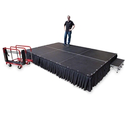 TotalPackage™ Lightweight Portable Stage Kit, 8x12 8x12, 12x8, 8 x 12, 96 square foot stage, stagekart, stage cart, stage package, stage kit, stage bundle