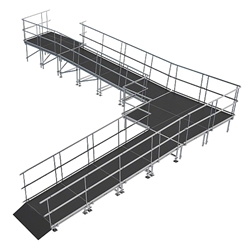 "Universal 90-Degree Turn ADA Wheelchair Ramp with Landing for 32"" High Stages universal ramp, universal wheelchair ramp, universal ada ramp, ada ramp, 32 inch stage ramp, 32 in wheelchair ramp, portable stage ramp, 90-degree turn ramp, 90 degree wheelchair ramp"
