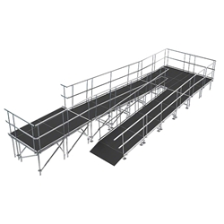 "Universal Switchback ADA Wheelchair Ramp with Landing for 32"" High Stages universal ramp, universal wheelchair ramp, universal ada ramp, ada ramp, 32 inch stage ramp, 32 in wheelchair ramp, portable stage ramp, switchback ramp, switchback wheelchair ramp"