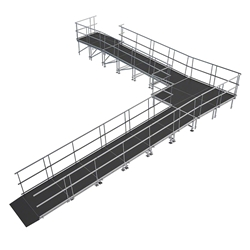 "Universal 90-Degree Turn ADA Wheelchair Ramp with Landing for 40"" High Stages universal ramp, universal wheelchair ramp, universal ada ramp, ada ramp, 40 inch stage ramp, 40 in wheelchair ramp, portable stage ramp, 90-degree turn ramp, 90 degree wheelchair ramp"