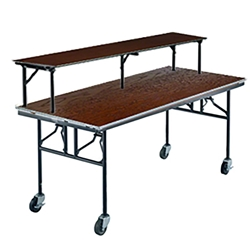"Midwest Folding 30""x72"" Mobile Buffet/Bar Table, Stained Plywood midwest folding, e series, 306E, rectangle, 72x30, 30x72, 30x72x30, mobile table, mobile buffet table, bar table"