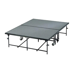 Midwest Folding 4x8 Fixed Height Mobile Stage, Carpeted  portable staging, midwest folding, 4x8, 4 x 8, 8x4, 8 x 4, fixed height, mobile, mobile stage, quick ship