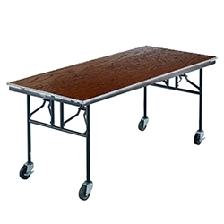 "Midwest Folding 30""x72"" Mobile Utility Table, Stained Plywood  midwest folding, e series, 306E, rectangle, 72x30, 30x72, 30x72x30, mobile table, mobile utility table"