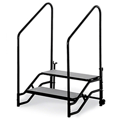 "Midwest Folding 2-Step Fixed Stairs with Handrails & Wheels, for 24"" High Mobile Stage portable staging, midwest folding, fixed height, mobile, mobile stage, quick ship, steps, 2 steps, portable steps"