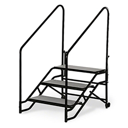 "Midwest Folding 3-Step Fixed Stairs with Handrails & Wheels, for 32"" High Mobile Stage portable staging, midwest folding, fixed height, mobile, mobile stage, steps, 3 steps, portable steps"