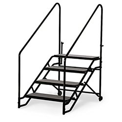 "Midwest Folding 4-Step Fixed Stairs with Handrails & Wheels, for 40"" High Mobile Stage portable staging, midwest folding, fixed height, mobile, mobile stage, steps, 4 steps, portable steps"