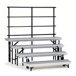 National Public Seating 4-Level Tapered Trans-Port Standing Choral Risers and Guard Rail Bundle choral risers, band risers, school risers, tapered risers, wedge risers, angled risers, transport risers, trans port risers, choir stage risers