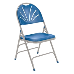 National Public Seating 1105 Polyfold Fan Back Triple-Brace Folding Chair, Blue folding chairs, 1100 series, plastic chairs, lightweight