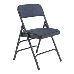 National Public Seating 2304 Fabric Premium Triple Brace Folding Chair, Imperial Blue/Char-Blue folding chairs, 2300 series, padded chairs, upholstered folding chair