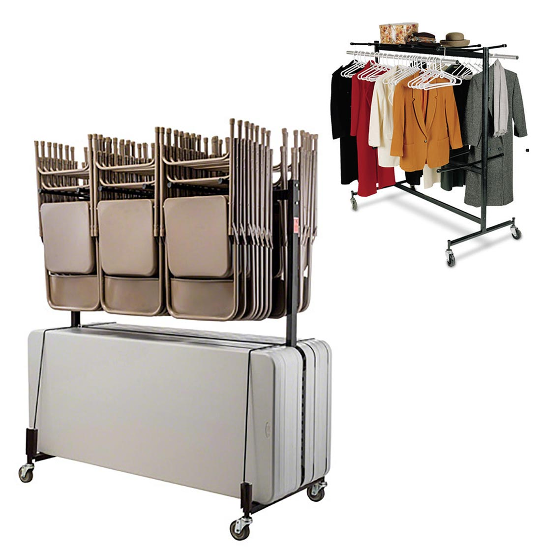 National Public Seating Combination Folding Chair Table Coat Storage Truck Nps 42