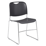 National Public Seating 8502 Ultra-Compact Stack Chair, Gunmetal stacking chairs, 8500 series, tablet arm, chair book basket