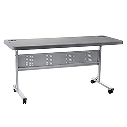 "National Public Seating 24""x60"" Flip-N-Store Table, Charcoal Slate/Silver bpft, flip-n-store table, 24x60, 60x24"