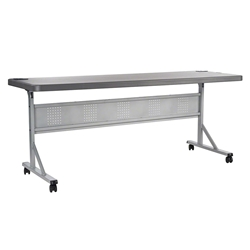 "National Public Seating 24""x72"" Flip-N-Store Training Table, Charcoal Slate/Silver bpft, flip-n-store table, 24x72, 72x24"