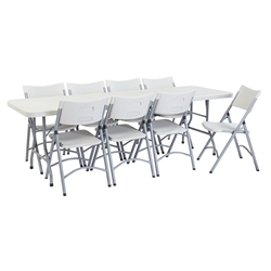 "National Public Seating 30"" x 96"" Rectangular Folding Table & Chairs Package bt3000, rectangle, folding table, 96x30, rectangular table, table with chairs, table and chairs, banquets, training"