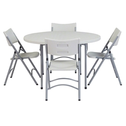 "National Public Seating 48"" Round Folding Table & Blow Molded Plastic Folding Chairs Package btr, round, folding table, round table, round table and chairs, table with chairs, banquet package"
