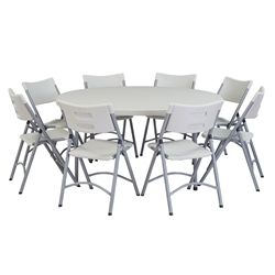 "National Public Seating 60"" Round Folding Table & Blow Molded Plastic Folding Chairs Package btr, round, folding table, round folding table, table with chairs, table and chairs, table chair package"