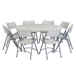 "National Public Seating 60"" Round Folding Table & Chairs Package btr, round, folding table, round folding table, table with chairs, table and chairs, table chair package"