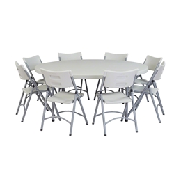 "National Public Seating 71"" Round Folding Table & Blow Molded Plastic Folding Chairs Package btr, round, folding table, round folding table with chairs, table with chairs, table and chairs, banquet package"