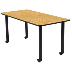 "National Public Seating 30""x60"" Rectangular Innovator Table, Height Adjustable with Casters, Banister Oak it-rc-ok-ah, innovator table, 30x60, 60x30, 30 x 60, 60 x 30, height adjustable table, table with casters"