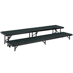 "National Public Seating Straight 2-Level Riser, 18"" x 96"" Carpeted choral risers, band risers, school risers, straight risers, choir stage risers, standing riser, 2 tier, 2 level"