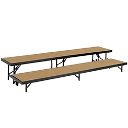 "National Public Seating Straight 2-Level Riser, 18"" x 96"" Hardboard choral risers, band risers, school risers, straight risers, choir stage risers, standing riser, 2 tier, 2 level"