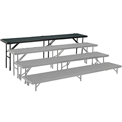 "National Public Seating Straight Riser, 18"" x 96"" Carpeted (32"" High) choral risers, band risers, school risers, straight risers, choir stage risers, standing riser"